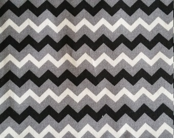 Grey Black and White Chevron design woven cotton. Quality 100% Cotton Fabric. 1mtr cut length
