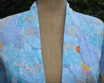 Light blue cotton kimono top