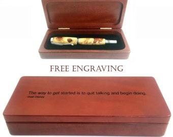 Wood Pen Box w/ Free Engraving, Personalized Pen Box, Rosewood Pen Box, Wood Gift Box, Keepsake Box, Red Wood Box, Pen Display Case