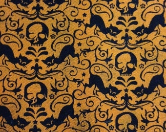 Black Cats on Orange Background, Eerie, Fright Night for Moda Fabrics, 100% Cotton