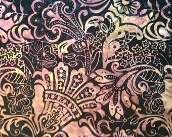 Batik - Black, Purple, Yellow Flower Swirls