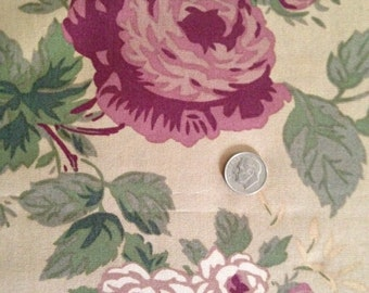 Pink and Burgundy Flowers, Green Leaves on Dark Tan Background, 100% Cotton