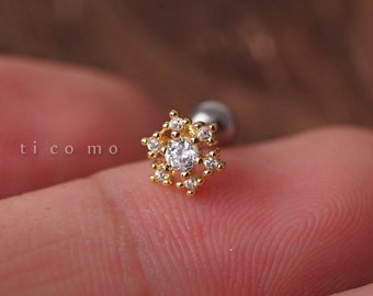 cartilage earring 16g tragus earring helix earring helix piercing cartilage tragus stud cartilage piercing conch piercing snow flake