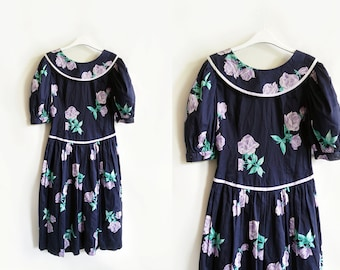 Vintage 80's Kathryn Conover dress lilac and navy rose pattern, size 8