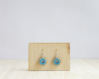 Wooden earrings embroidered