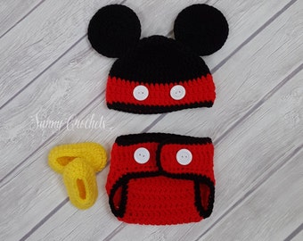 Mickey Mouse Crochet Hat and Diaper Cover, Newborn Photo Prop, Baby Shower Gift, Halloween Costume,