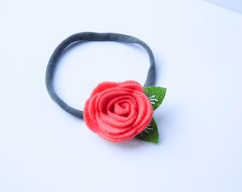 Coral Felt Flower Gray Nylon Headband, Felt Flower, Pink Felt Flower