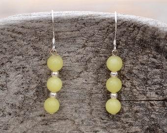 Jade earrings, Olive jade earrings, French hook jade earrings, Silver earrings with jade, Jade drop earrings, Jade tiny drop earrings.