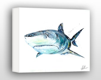 "Tiger Shark Wall Art, Shark Wildlife Decor, 30x40"" Limited Edition Gallery Wrapped Canvas"