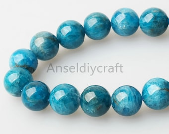 B331 Natural Blue Apatite Beads, Full Strand 5 6 7 8 9 10 11 12mm Apatite Gemstone and Healing Beads Supplies,semi precious,round blue beads