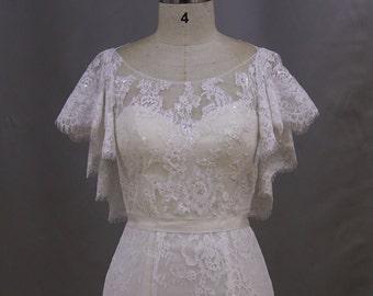 Cape Bolero Sleeve Beaded Lace  Mermaid Trumpet Wedding Dress Bridal Gown with corset back