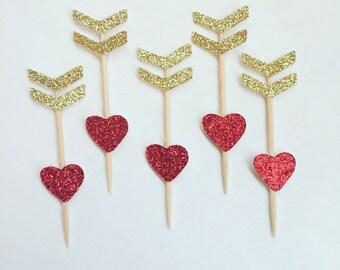 Cupids arrow cupcake topper