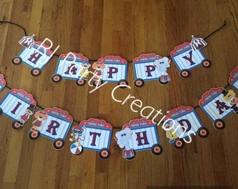 Circus theme birthday banner