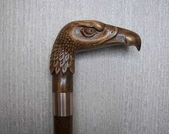 "SUPER Walking cane, Walking Stick, Hand carved, Wooden Walking Stick ""Eagle"" Carving Art from Ukraine Wood"