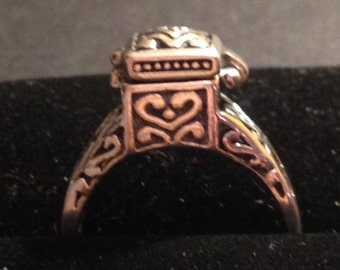 Sterling silver pill box ring. Size 8