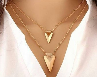 To the Point Doubla Triangular Necklace