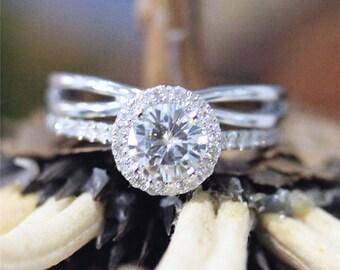 Moissanite Ring Set ,7.5mm Round Cut FB Moissanite Engagement Ring,Plain Infinity Wedding Band,14K White Gold Engagement Ring Set,Bridal Set
