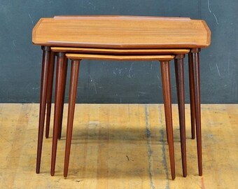 Mid-Century Danish Teak Hovmand Olsen Mogens Kold Nesting Table Set of 3