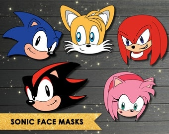 Sonic Mask, Sonic the Hedgehog Masks, Sonic Party, Tails, Photobooth Props, Sonic Face Masks, Sonic Birthday party, Sega