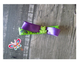 Clip hair frog purple/green lime