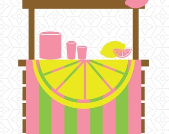 Lemonade Stand Decal Design, SVG, DXF Vector Files for use with Cricut or Silhouette Vinyl Cutting Machines.  PNG for Direct Printing.
