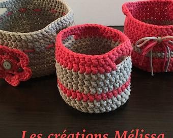 Decorative set of 3 baskets