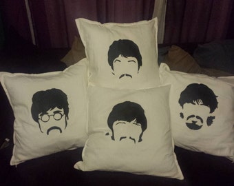 Beatles Inspired Hand-Painted Pillow Covers
