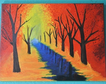 Fall park painting, acrylic painting, landscape painting, fall trees canvas painting