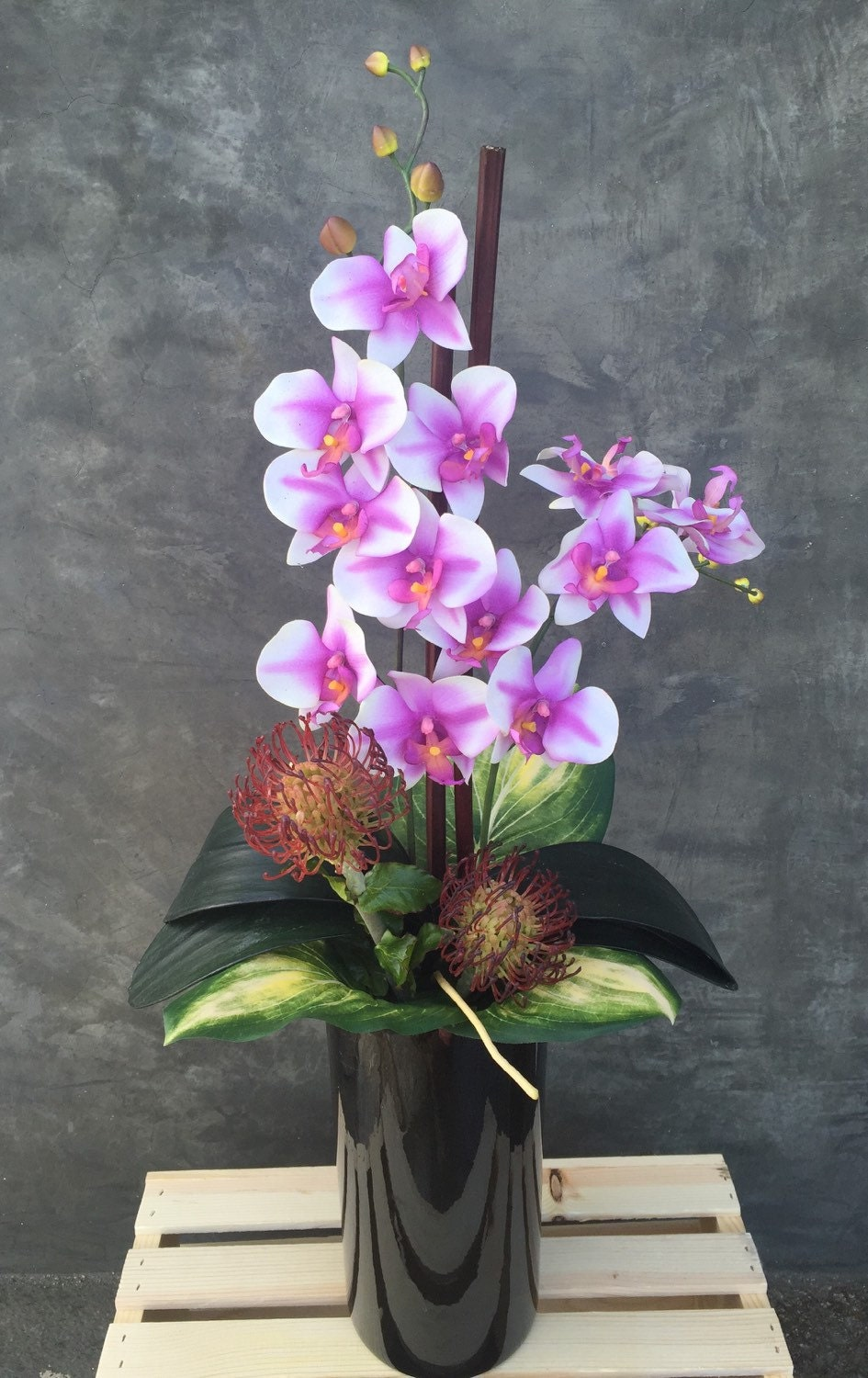 Faux Orchid Floral Arrangement Artificial Flower Arrangement