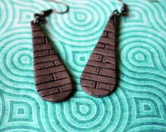 Wooden Tear Drop Earrings