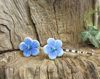 Pair of blue flower hairpins  Polymer clay Handmade Delicate small blue flowers