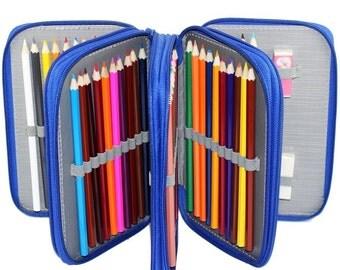 Pencil Case | 72 Pencil Holder - Blue | Large Pencil Case, Pencil Storage, Pencil Pouch, Pencil Box, Pencil Wrap | Colored Pencil Holder