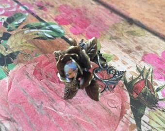 Brass Rose Ring, Rose ring, Adjustable Ring