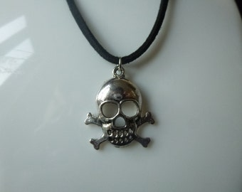 Skull and crossbones necklace, silver skull necklace, SALE necklace