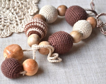 Beige brown toy Crochet Juniper teether Crochet Teething Wood beads Natural toy Baby first toy Gift for baby and mom EcoFriendly Crochet