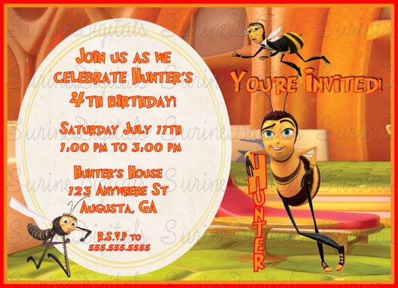 Bee Movie Birthday Party Invitation Childs Themed