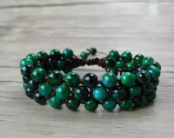 Chrysocolla bracelet gypsy bead bracelet braid bead bracelet natural stone bead bracelet gemstone bracelet Yoga green bead bracelet SL-0346