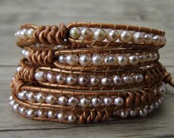 Pearl wrap bracelet beads leather bracelet fresh water pearl bracelet yoga gypsy wrap bracelet boho pearl bracelet pearl jewelry SL-0240