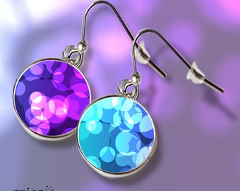 Bright epoxy stickers earrings with color bubbles