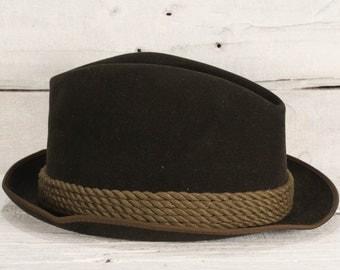 HUCKEL  hat Vintage men's dark green Hückel flexible short rimmed Christmas gift