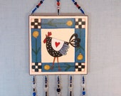 Chicken wall art kitchen chicken decor funny/funky Folk Art chicked decorative hanging cute wall art blue & cream beaded wall art red heart
