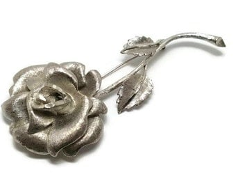 Vintage Large Textured Silver Tone Rose Brooch Pin