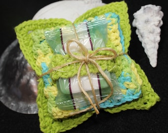 Limeade Lime Green/Yellow/Aqua  4pc 100% Cotton Spa Set: Hand-crocheted facecloth, face scrubbie, makeup remover cloth, and travel soap