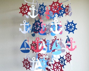 Nautical Mobile - Ceiling Mobiles - Nautical Crib Mobile - Baby Nursery Mobile - Mobile Nursery