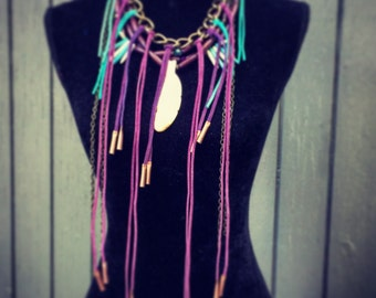 Turquoise and purple leather chain necklace..