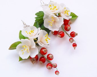 "Earrings ""Flowers of apple and red currant"""