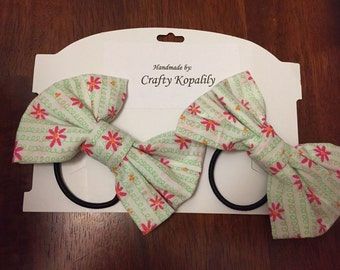 Fabric Bow hair ties. Handmade