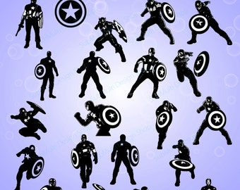 captain america silhouette / 20 captain america / captain america digital file / SVG / EPS / PNG / Jpg / vector files / High Quality