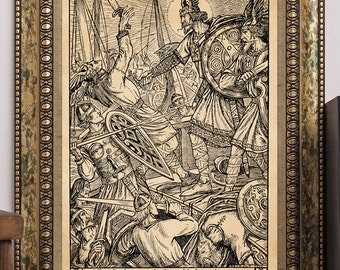 Herbert Cole 1912 King Olaf the Viking and the Last Sea-Fight Antique Children's Story-Book Art Print Warriors