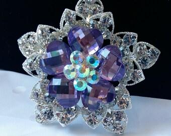 Silver and Lavender Rhinestone Flower Brooch